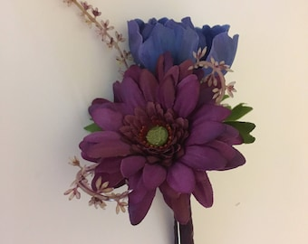 Plum Gerbera buttonhole with Blue Anemone Wedding Flowers Prom Corsage