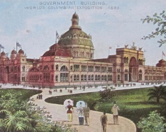 Antique 1893 Trade Card Jersey Coffee Souvenir of Columbian Exposition - The Government Building - Free Shipping