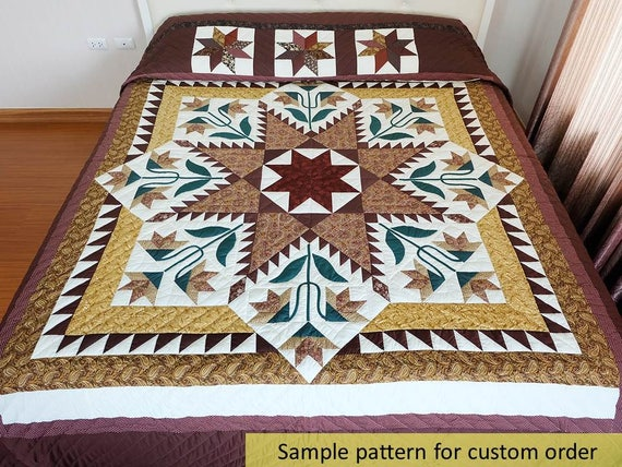Homemade Quilts For Sale >> Patchwork quilts Feather Star Quilt King Size Quilts Amish