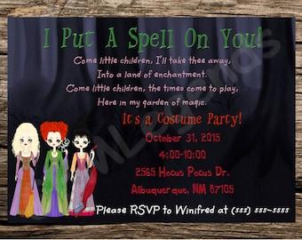 Halloween Party,Costume Party,Hocus Pocus Halloween Party, Hocus Pocus Party, Halloween Party,Halloween Invitations, DIGITAL DOWNLOAD