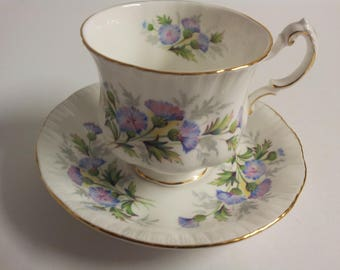 Paragon English Flowers Thistles Fine Bone China Tea Cup and Saucer
