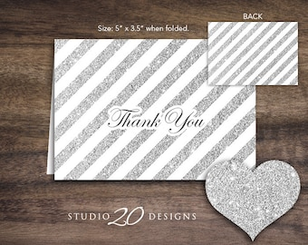 Instant Download Silver Glitter Thank You Card, Folded Grey Silver Glitter Baby Shower Thank You Card, Glitter Birthday Thank You 55B