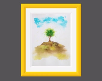 Original Watercolor Painting, Watercolor Painting Tree, Blooming World