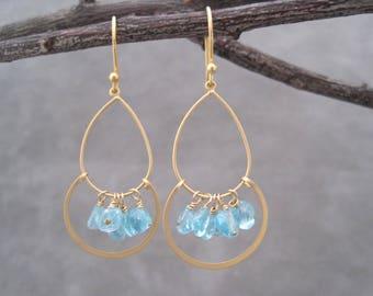 Aquamarine Trapeze Earrings - Matte Gold Hoops - March Birthstone Jewelry - Aquamarine Nuggets - Light Blue Stone Earrings