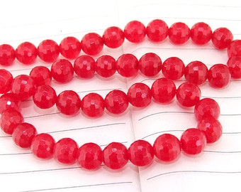 """strand Round Faceted Red Jade Beads ----- 8mm ----- about 48Pieces ----- gemstone beads--- 15"""" in length"""