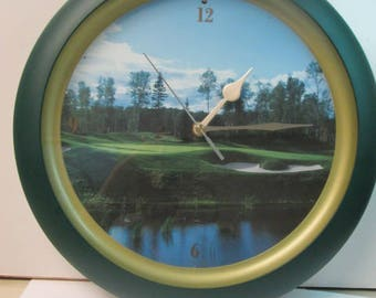 """13.5"""" Golf Quartz Clock with sounds motion activated very good condition"""