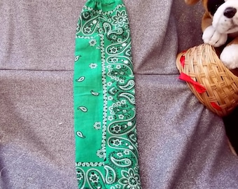Plastic Bag Holder Sock, Green Paisley Print