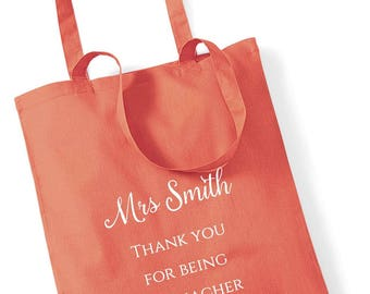 Thank you teacher gift tote bag personalised.