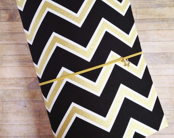 Fabric Travelers Notebook in Black And Gold Chevron