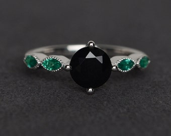 black spinel ring silver engagement ring round cut black ring promise ring fine jewelry