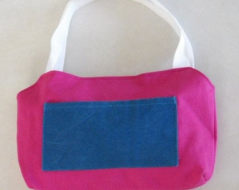 Denim Purse Hot Pink and Teal With Front Pocket Medium