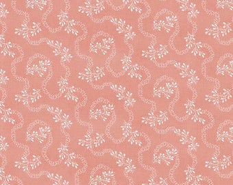 """Floral Fabric: Riley Blake Isabella Little white Floral on Coral   100% cotton fabric by yard 36""""x44"""" (H137)"""