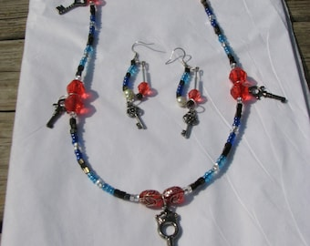 Beaded Key Pendant Necklace and Earring Set