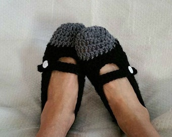 Crochet Slippers Two tone Mary Jane Womens Flats Heather Gray and Black