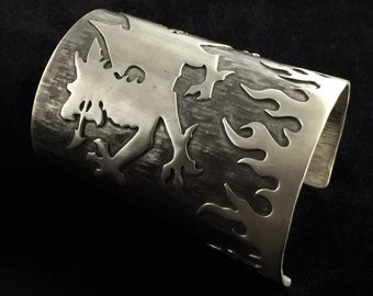 Hammered Sterling Silver Cuff Bracelet with Dragon, Smoke and Flames