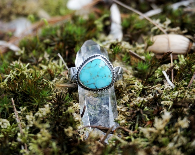 Turquoise Mountain Leaf Ring, Turquoise Ring, Sterling Silver Ring, Turquoise Sterling Silver Ring