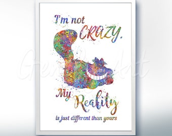 Alice in Wonderland Cheshire Cat Quote [1] Watercolor Poster Print - Watercolor Painting - Watercolor Art Kids Decor Nursery Decor