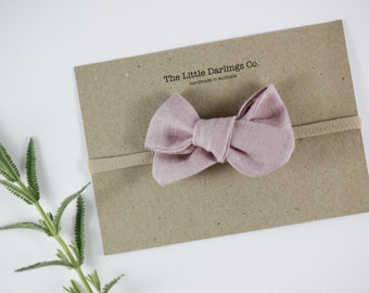 Hand Tied Hair Bow 100% Linen Small Pinwheel in Dusty Pink // Clip or Band