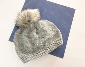 Adult knit gray hat with white fossil gray faux fur pompom