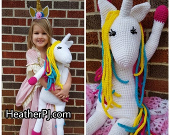 Large Unicorn Crocheted Toy