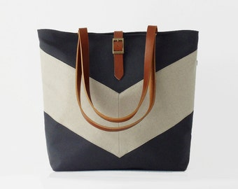 Linen chevron, Dark navy tote / diaper bag / shoulder bag, leather handles,  9 inside pockets. Waterproof poly lining available