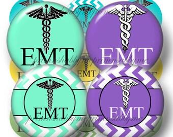 2 EMT, Bottle Cap Images, 1 Inch Circles, Digital Collage Sheets, Instant Download Caduceus Medical Symbol, For Charms, Stethescope (No.1)