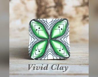 Polymer clay cane, green fade square