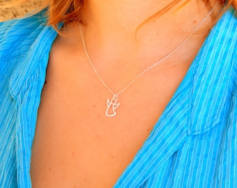 Sterling Silver guardian angel protection necklace,dainty angel, baptism gift, confirmation gift, religious gift, first communion gift, 487