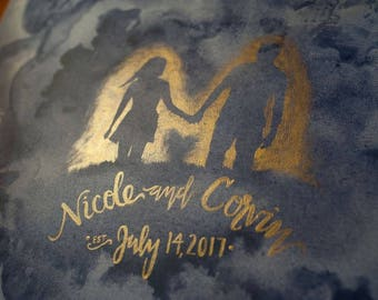 Custom Wedding Guestbook Painting Alternative Guestbook Watercolor Silhouette Navy Blue Metallic Gold Silver Canvas