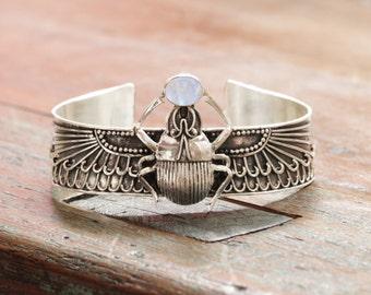 Scarab Bracelet, Boho Jewelry, Scarab Jewelry, Egyptian Style Jewelry, Scarab Beetle, Sterling Silver Cuff, Boho Cuff, Bohemian, Gypsy Cuff