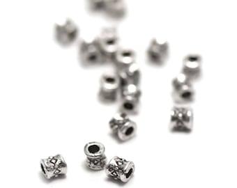 "50 pearls ""mini tube"" has 3, 5 x 3, 5 mm, silver, 007"