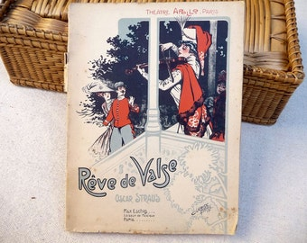 Antique French Music Book, 1910 Sheet Music, Apollo Theater, Paris, French Book, Piano Music Photography Prop