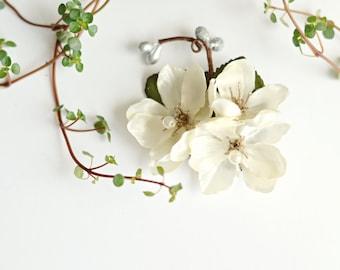 Ivory flower clip, wedding hair clip, bridal headpiece, ivory floral hair pin, flower hair piece, wedding hair accessory - Diana