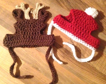 Crochet Pattern - PDF Download // Cat or Small Dog Christmas Beanie Hats