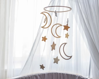 Baby mobile Moon - Wooden mobile - Baby mobile star - Crib mobile - Baby mobile ideas - Moon baby mobile - Moon nursery  - Nursery mobile