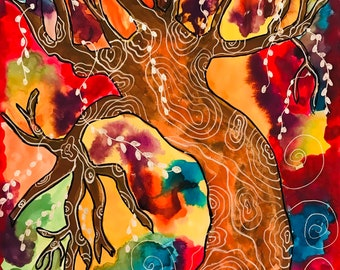 Digital Download of My Watercolour Tree of Life Vibrant & Colorful