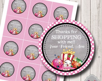 PERSONALIZED - ShopkinsThank You...Printable Tags- HT018 - thank you tags, cupcake toppers, gift tags
