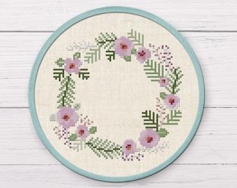 Pretty Lavender Wreath Border Cross Stitch Pattern. Flower Wreath, Modern Simple Cute Counted Cross Stitch PDF Pattern. Instant Download