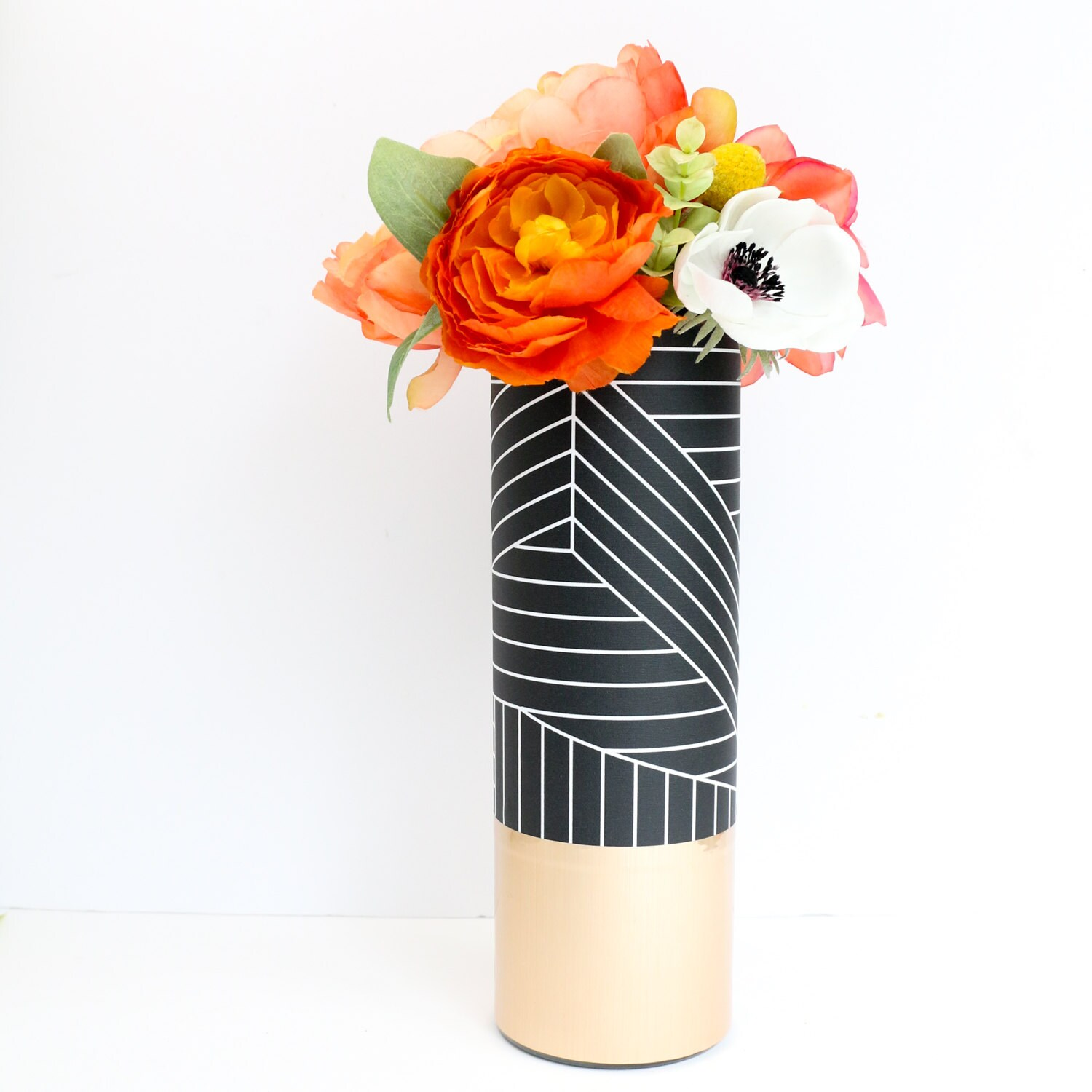 Black and white graphic pattern wrapped flower vase with rose zoom reviewsmspy