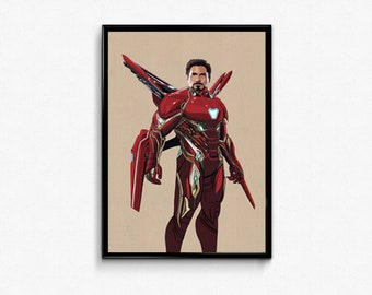 Infinity War Iron Man Tony Stark Marvel Movie art print poster.