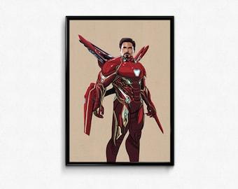 Infinity War Iron Man Tony Stark Marvel Movie art print poster.