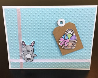 Handmade Easter card with raised dots, rabbit, and Easter basket