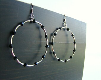 Silver Hoop Earings with Black Crystals Choose your color