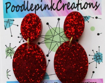 Vintage Retro 1950s 1960s Inspired Retro Lucite Look Cherry Red Sparkle Glitter Earrings Drop Dangle Ovals Posts or Clip-Ons 36+ Colors