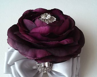 Plum Corsage-Rhinestone Corsage-Mother of the Bride Corsage-Prom Corsage-Homecoming Corsage-Wedding Corsage