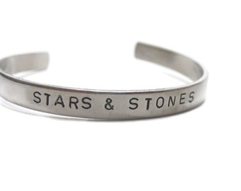 Stars and Stones Customizable Hand Stamped Cuff Bracelet