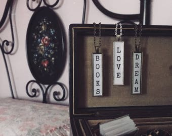Rectangular cameo necklaces with words-word necklace