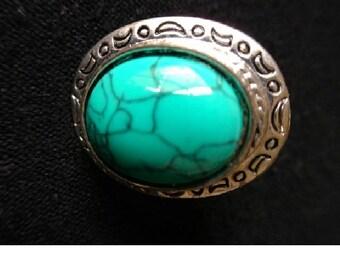 Turquoise Tibetan Silver Ring. Boho Tribal