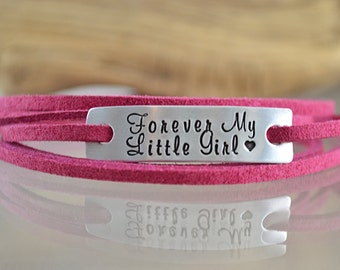Girls Wrap Bracelet - Forever My Little Girl - Personalized Gifts for Girls - Personalized Jewelry - Wrap Bracelet For Kids - Hand Stamped
