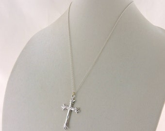 """Sterling Silver Textured Cross Pendant Necklace 20"""""""